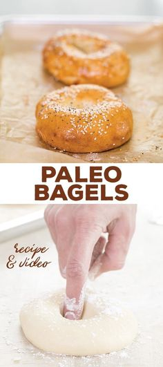 """Craving bagels while paleo? Have no fear! These authentic-tasting Paleo bagels have no gluten, grains or dairy, but you'd never know it wasn't the """"real thing."""" Chewy inside, crispy crust outside. Gluten Free Baking, Gluten Free Recipes, Gourmet Recipes, Real Food Recipes, Keto Recipes, Cooking Recipes, Flour Recipes, Healthy Recipes, Healthy Habits"""