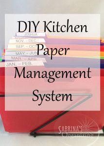 DIY Kitchen Paper Management System | Sabrina's Organizing #paper #kitchen #organization