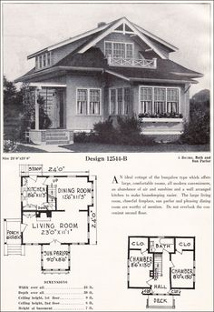Small Bungalow Cottage Plan - C. Bowes Company - c. Small Bungalow, Small Tiny House, Small House Plans, Vintage House Plans, Vintage Homes, House Plans With Pictures, Cottages And Bungalows, Antique House, Vintage Architecture