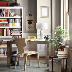 Benjamin Moore® Ben® Paint, Galveston Gray AC-27. west elm. Love the colors for hallway/stairs?