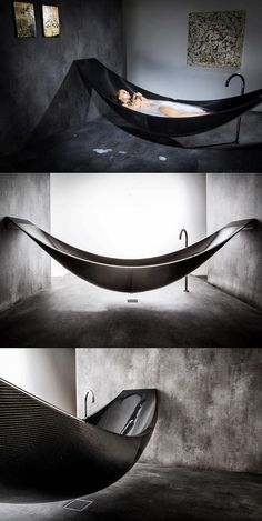A bathtub that is shaped like a hammock targeted to enhance your bathtub experience. An item that can give a hotel a leading edge in the industry.