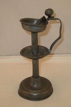 Antique Primitive Pewter Table Top Grease Lamp - Early 1780's  - Oil Lamp