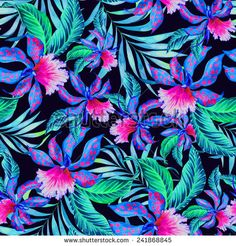 colorful seamless paradise pattern illustration in watercolor.