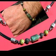 Bracelet homme cuir noir pierre gemmes jasp vert, lave, unakite, perles argent tibetain, bracelet mala, surfeur, cristaux de guérison