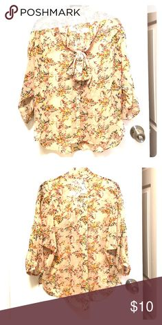 Kimchi Blue colorful sheer blouse Kimchi Blue colorful sheer blouse. Base color is blush. Purchased from Urban Outfitters. Kimchi Blue Tops Blouses