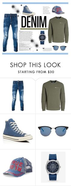 """""""Fly Guy"""" by terrencewilliams-1 ❤ liked on Polyvore featuring Dsquared2, Jack & Jones, Converse, Yves Saint Laurent, True Religion, Express, Balmain, men's fashion, menswear and alldenim"""