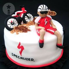 What a way to celebrate! Show us how you celebrate a well-deserved victory and be eligible to win prizes from Specialized. Bicycle Cake, Bike Cakes, Sports Themed Cakes, Themed Birthday Cakes, Crazy Cakes, Cupcakes, Cupcake Cakes, Dad Cake, Sport Cakes