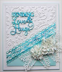 Hi crafters! Nothing too fancy, but a pretty card made with the addition of pixie powders and an embossing folder! Good Sunday Morning, Dry Well, Sue Wilson, Crafts Beautiful, Paper Crafts, Diy Crafts, You Make Me Happy, Pretty Cards, Embossing Folder