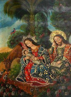 'Flight to Egypt' Catholic Art, Religious Art, Colonial Art, Spanish Colonial, St Jose, Lady Madonna, Mama Mary, Prophetic Art, Holy Family