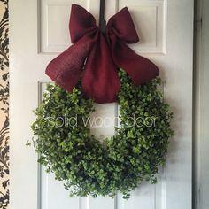 Items similar to Fall Faux Boxwood Wreath, Easter Boxwood Burlap Wreath 22 inches, Boxwood Wreath with Burlap Bow, Summer Boxwood, Texas ATM Maroon boxwood w on Etsy – Boxwood Wreath İdeas. Wreath Hanger, Diy Wreath, Burlap Wreath, Christmas Diy, Christmas Wreaths, Christmas Decorations, Holiday Decor, Xmas, Boxwood Wreath