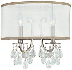 "Crystorama Hampton Silver Shade 14"" Wide, 13""High, 6""out -  Wall Sconce 