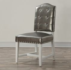 TOV Furniture Glamour Silver Leather Dining Chair - Set of 2