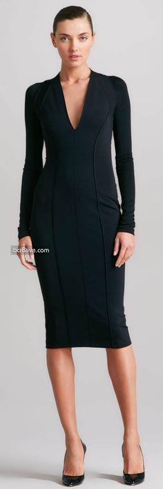 Donna Karan Seamed Plunging Jersey Dress, Black