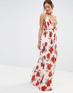 Missguided Strappy Plunge Floral Maxi Dress
