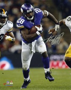 d33c60962e8 Adrian Peterson NFL Minnesota Vikings Autographed 8x10 Running vs Steelers  Photo  running  steelers