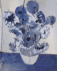 Van Gogh tout de jeans vêtu ;-) Sunflowers, denim art from recycled blue jeans by Denimu, aka Ian Berry