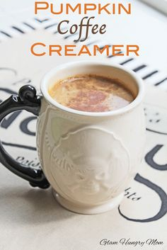 Pumpkin Coffee Creamer ~ 1 cup Milk of your choice or Half-and-Half if you're feeling naughty, 1/4 cup Pumpkin Puree, 2 tablespoons White Chocolate Chips, 2 teaspoon Pumpkin Pie Spice, 1/2 teaspoon Cinnamon, 1/4 teaspoon Nutmeg, 1/2 teaspoon Vanilla Extract