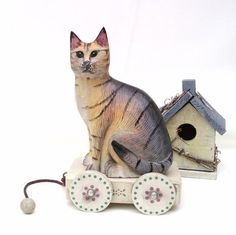 Vintage Wood Pull Toy Wooden Cat Enesco Music Box Wagon Folk Art Rustic Shabby Cottage Decor