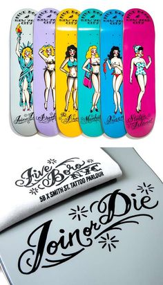 5boro and Smith Street Tattoo Parlor Drop These Custom Skate Decks #skateboards #girly trendhunter.com