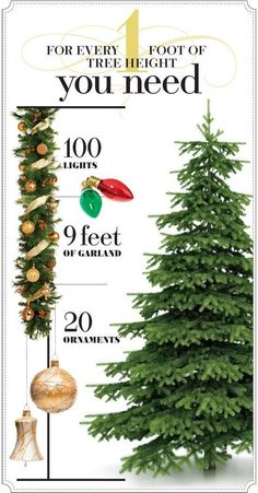 This super handy chart will keep you from buying excess tree decorations. | 51 Life-Saving Holiday Hacks That Are Borderline Genius
