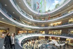 Silkroad Render for Mladost Project Shopping Mall Interior, Mall Design, Glass Fence, Atrium, Entrance, Architecture, Projects, Ceiling, Detail