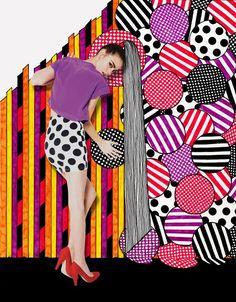 モデルと背景のグラフィックの融合が面白いファッション広告。(via Nikki Farquharson)