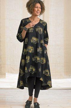 f0b333f559b9 Zarine Dress - Black Wheat Long A-line kurta dress features a V-