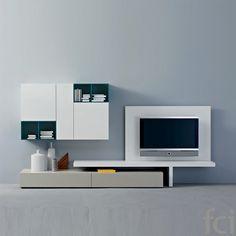 TV Unit 44 by Logo. Tv Lounge Design, Hall Design, Wall Unit Designs, Tv Unit Design, Living Room Tv, Living Room Modern, Lcd Wall Design, Italian Living Room, Lcd Units