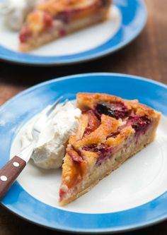 Frangipan French fruit tart with nectarines and raspberries