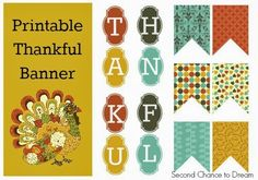 Free Thanksgiving Party Printables Set 1 - Second Chance To Dream Free Thanksgiving Printables, Thanksgiving Banner, Thanksgiving Parties, Thanksgiving Crafts, Thanksgiving Decorations, Holiday Decorations, Printable Banner, Party Printables, Printable Calendars