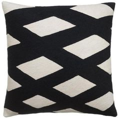Judy Ross Textiles - 18 x 18 Cream/Black Plaid Pillow found on Polyvore