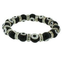 Black and White Beaded Stretch Cord Bangle Evil Eye White CZ Unisex Bracelet Daily Diamond Deal. $7.99. Lowest Price Guaranteed!. Material: Alloy, Beads. 7.5 Long (in Inches). Approx. Width (in Inches): 0.37
