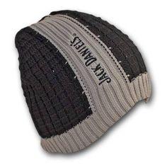 94a2505ef5ffd Jack Daniels Ribbed Black Gray Winter Knit Beanie Hat