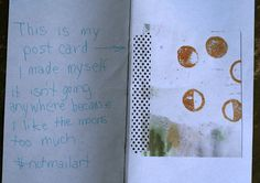 I love that she chose to keep her amazing moon postcard for herself and make note of that decision.
