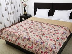#KanthaWork bedcovers  #ethnicrajblankets.  shop at  https://www.ethnicrajasthan.com/collections/bed-cover/products/cotton-bedcover-gudri-tree-kantha-work-1
