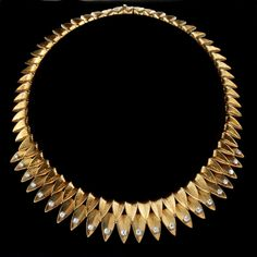 """CARTIER, Paris. Retro, circa 1950s, 18ct yellow gold and diamond fringe necklace. Photo courtesy of Hancock's."""