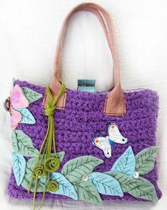 お花と葉っぱの裂き編みバッグ パープル