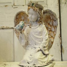 Shabby chic angel statue with hand made crown by AnitaSperoDesign, $79.00