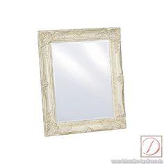 Spiegel weiss 37x47cm Barockrahmen Landhaus-Stil - Wandspiegel mit Facettenschliff. Rahmen mit üppigen Verzierungen im Barockstil. Ein edler Wandschmuck schlechthin!