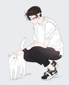'Fluffy and cute....' he admits to himself and pats the soft, white cat.