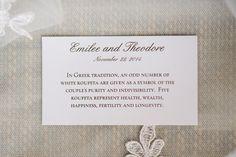 Kufeta Description Card for each Place Setting
