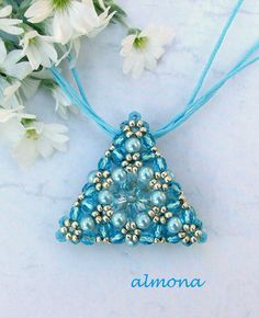 Triangle bead woven pendant with crystals, pearls and rocailles