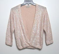Vintage Laura Aponte - Italy - S/M - Pink Heavily Sequence Wool Cardigan Sweater #LauraAponte #Cardigan