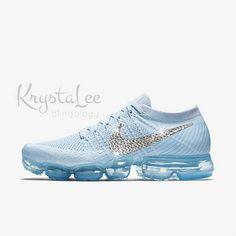 f74fb32bb5fbd6 Womens Nike Air VaporMax Flyknit Blue White Platinum Custom Bling Crystal  Swarovski Sneakers