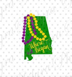 Alabama Mardi Gras, Alabama Mardi Gras Where it all Began Svg, Christmas Svg, Digital Cutting File, PDF,PNG by Philyras on Etsy
