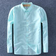 Summer Cotton Linen Shirts Comfortable Undershirt - Fashion Want Collar Styles, Summer Shirts, Casual Shirts For Men, Cotton Linen, Types Of Shirts, Sleeve Styles, Button Up Shirts, Spring Summer, Linen Shirts