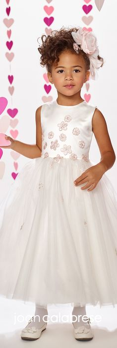 Joan Calabrese for Mon Cheri - Fall 2017 - Style No. 217380 - sleeveless satin and tulle tea-length flower girl dress with pink floral accents