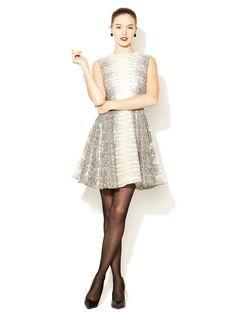Snake Printed Sequin Embroidery Fit n' Flare Dress by Dennis Basso at Gilt