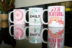 Monogram Coffee Mugs Personalized Coffee Mugs Custom by MixMugs