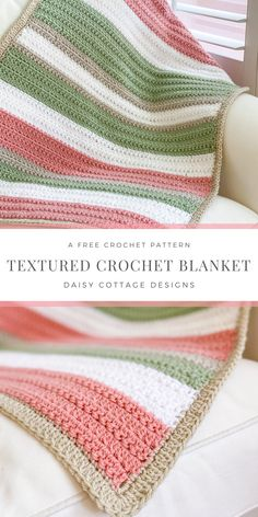 Use this quick and easy crochet pattern to make a beautiful, textured blanket. This crochet blanket tutorial is an easy crochet blanket for beginners. Instructions are included to make this blanket any size you want. Crochet Blanket Tutorial, Striped Crochet Blanket, Crotchet Blanket, Crochet Crafts, Crochet Projects, Kids Crochet, Crochet Afgans, Easy Crochet Patterns, Crochet Stitches